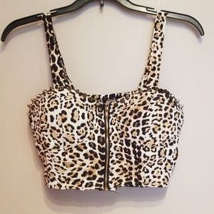 Cheetah print studded  crop top